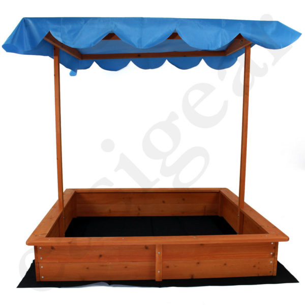 Easipet Childs Wooden Sand Pit with Sunshade for Garden and Outdoor Play