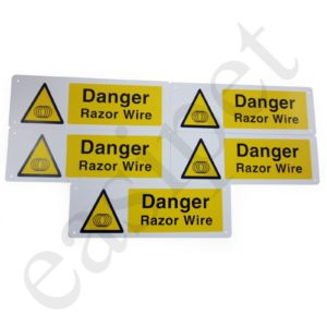 Razor Wire Warning Sign Danger Hazard Health Safety 300mm x 100mm Plastic 5pcs