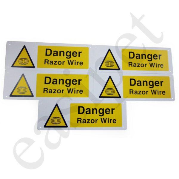 Razor Wire Warning Sign Danger Hazard Health Safety 300mm x 100mm Plastic 5pcs