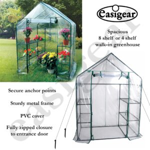 Walk In Greenhouse with 4 or 8 Shelves and PVC cover