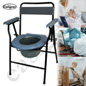 Folding Steel Commode Chair with Safety Lock and 9 Litre Pail